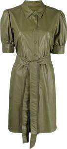 Zielona sukienka Twinset z krótkim rękawem w stylu casual z kołnierzykiem