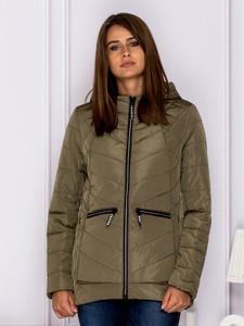 Zielona kurtka Sheandher.pl krótka w stylu casual