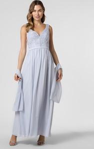 Niebieska sukienka Unique maxi rozkloszowana z dekoltem w kształcie litery v