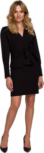 Czarna sukienka Makover z dekoltem w kształcie litery v z tkaniny
