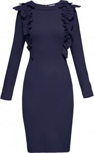 Niebieska sukienka Yuliya Babich z okrągłym dekoltem
