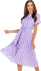 Fioletowa sukienka Awama mini z krótkim rękawem w stylu casual
