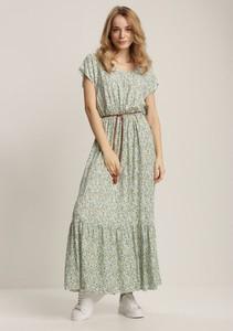 Zielona sukienka Renee maxi z krótkim rękawem z okrągłym dekoltem