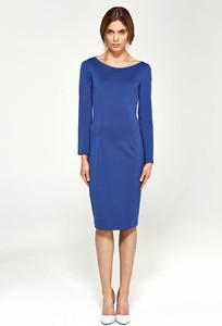 Niebieska sukienka Nife midi z okrągłym dekoltem z długim rękawem