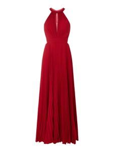 Czerwona sukienka Luxuar bez rękawów z dekoltem w kształcie litery v z szyfonu