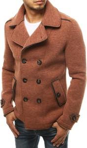 Brązowy płaszcz męski Dstreet z wełny