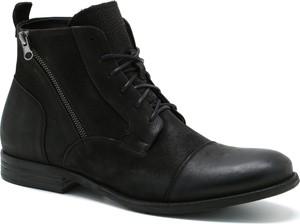 Czarne buty zimowe Ryłko sznurowane