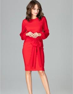Czerwona sukienka LENITIF ołówkowa midi