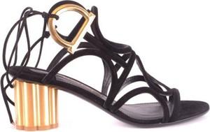 Czarne sandały Salvatore Ferragamo ze skóry