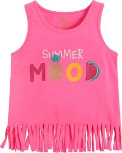 Różowa bluzka dziecięca Cool Club bez rękawów z tkaniny