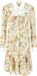 Sukienka Tory Burch z długim rękawem z jedwabiu koszulowa