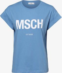 Niebieski t-shirt Moss Copenhagen z okrągłym dekoltem w młodzieżowym stylu