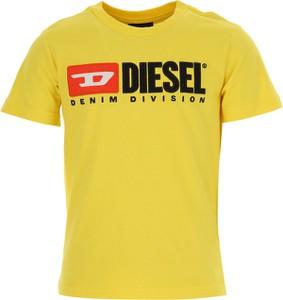 Żółta koszulka dziecięca Diesel z krótkim rękawem z bawełny