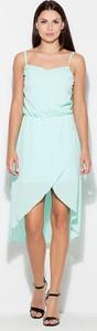 Miętowa sukienka sukienki.pl asymetryczna na ramiączkach