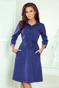 Niebieska sukienka NUMOCO w stylu casual koszulowa z długim rękawem