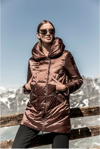Brązowa kurtka Tiffi w stylu casual długa