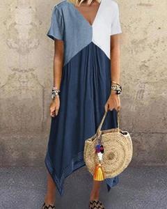 Sukienka Kendallme z krótkim rękawem maxi asymetryczna