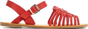 Czerwone sandały Multu z płaską podeszwą z klamrami