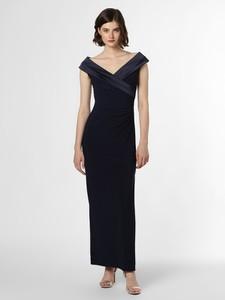 Granatowa sukienka Ralph Lauren z dekoltem w kształcie litery v bez rękawów maxi