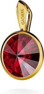 GIORRE SREBRNY WISIOREK SWAROVSKI RIVOLI 925 : Kolor kryształu SWAROVSKI - Siam, Kolor pokrycia srebra - Pokrycie Żółtym 24K Złotem