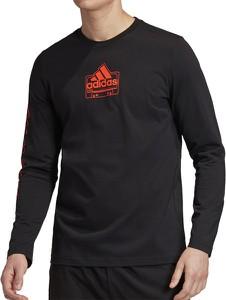 Czarny t-shirt Adidas z długim rękawem w sportowym stylu z bawełny