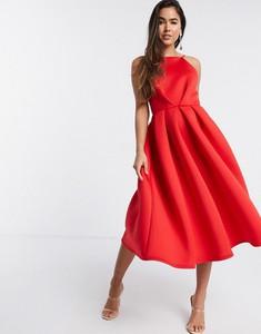 Sukienka True Violet midi z odkrytymi ramionami
