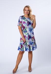 Sukienka Ptakmoda.com prosta z krótkim rękawem z okrągłym dekoltem
