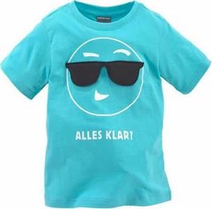 Błękitna koszulka dziecięca kidsworld z napisami