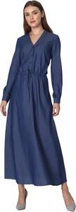 Sukienka Nife maxi z jeansu z dekoltem w kształcie litery v