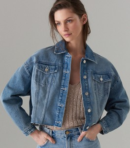 Kurtka Mohito w street stylu z jeansu
