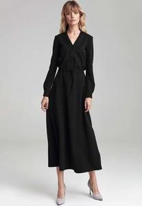 Sukienka Nife szmizjerka maxi z dekoltem w kształcie litery v