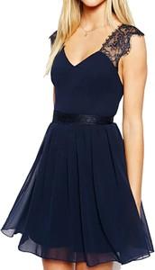 Granatowa sukienka Snm mini z szyfonu z dekoltem w kształcie litery v