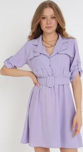 Fioletowa sukienka born2be trapezowa mini w stylu casual
