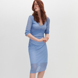 Sukienka Reserved z długim rękawem midi z dekoltem w kształcie litery v
