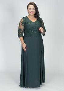 Sukienka Grandio z długim rękawem maxi z dekoltem w kształcie litery v