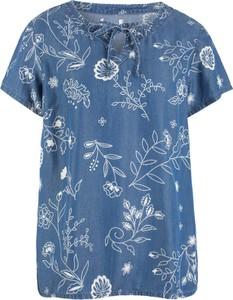 Bluzka bonprix John Baner JEANSWEAR ze sznurowanym dekoltem z krótkim rękawem