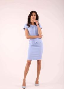 Niebieska sukienka Nommo z okrągłym dekoltem z krótkim rękawem