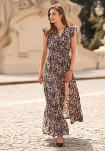Sukienka Renee z krótkim rękawem maxi z dekoltem w kształcie litery v