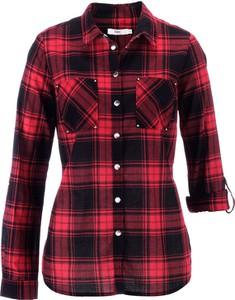 Czerwona koszula bonprix bpc bonprix collection z długim rękawem w stylu casual