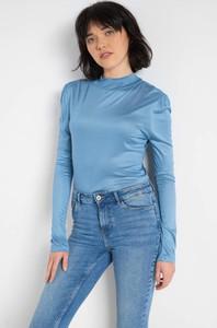 Niebieski t-shirt ORSAY z dzianiny w stylu casual z długim rękawem