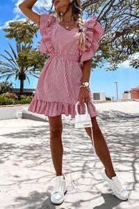 Różowa sukienka IVET trapezowa mini z długim rękawem