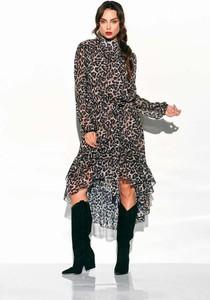 Sukienka Coco Style z jedwabiu z długim rękawem asymetryczna