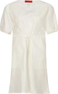 Sukienka Max & Co. z krótkim rękawem z okrągłym dekoltem z lnu