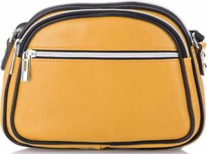 Żółta torebka GENUINE LEATHER w stylu casual mała ze skóry