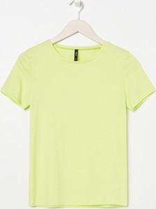 Zielony t-shirt Sinsay z okrągłym dekoltem z krótkim rękawem