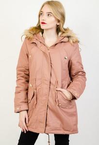 Różowa kurtka Olika długa w stylu casual