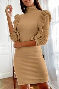 Brązowa sukienka IVET dopasowana