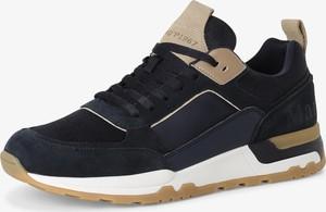Granatowe buty sportowe Marc O'Polo z tkaniny sznurowane