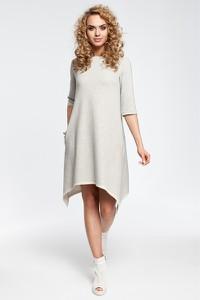 Sukienka MOE z długim rękawem z dzianiny asymetryczna