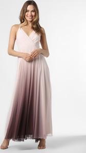 Różowa sukienka Marie Lund maxi z dekoltem w kształcie litery v na ramiączkach